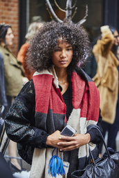 scarf,nyfw 2017,fashion week 2017,fashion week,streetstyle,curly hair,jacket,black jacket,black bomber jacket,bomber jacket,striped scarf