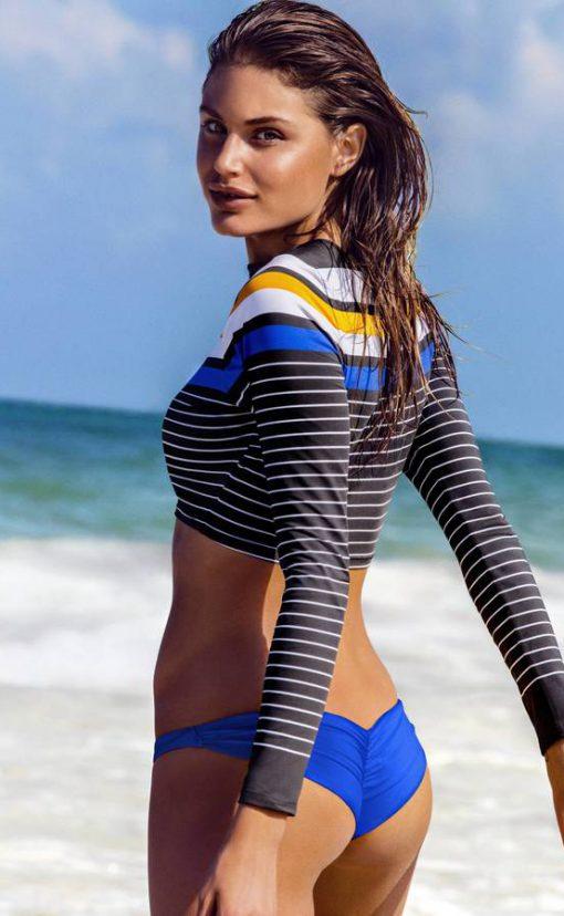 Vitamin A Swimwear Cannes Cropped Rashguard Catamaran Stripe