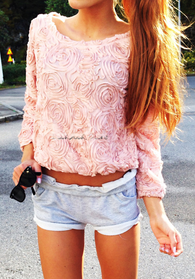 3D Mesh Lace Rose Floral Long Sleeve Jumper Top Sweater | eBay