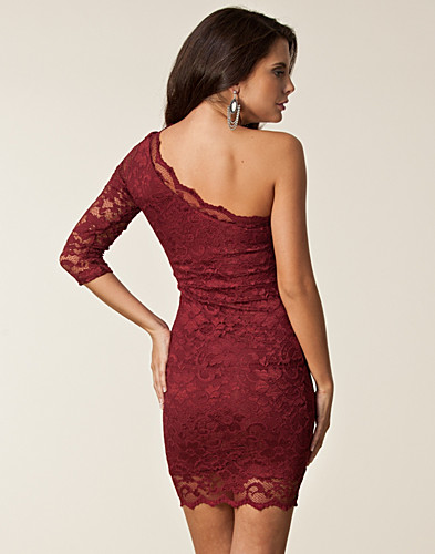 Dress One Shoulder - John Zack - Wine red - Party dresses ...