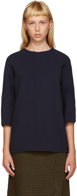blouse navy wool top