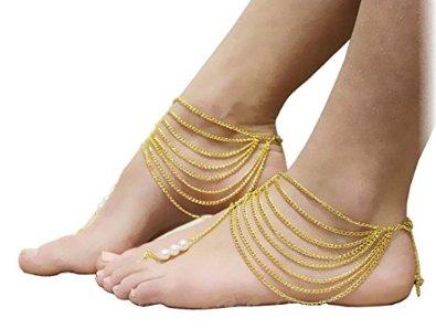 Amazoncom YueLian 2pcs Imitation Pearl Alloy Barefoot Sandals Foot