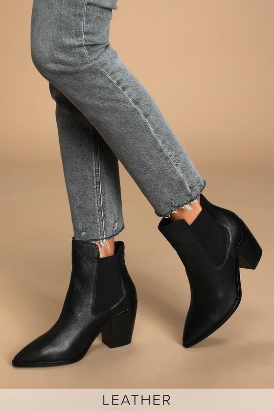 Utah Black Leather Pointed-Toe Ankle Booties
