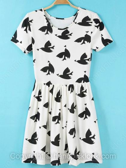 White Round Neck Short Sleeve Bird Print Dress - HandpickLook.com