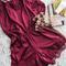 Wine red lace romper
