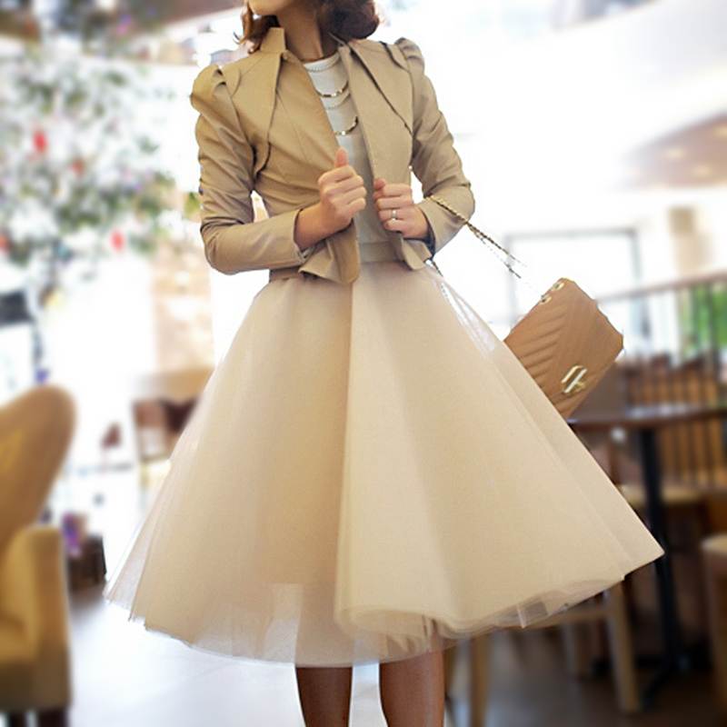New 2014 Yarn Spring And Summer  Expansion Half skirt Bottom Puff Medium Skirt Bust Skirt Tulle QZ015 Free Shipping-inSkirts from Apparel & Accessories on Aliexpress.com