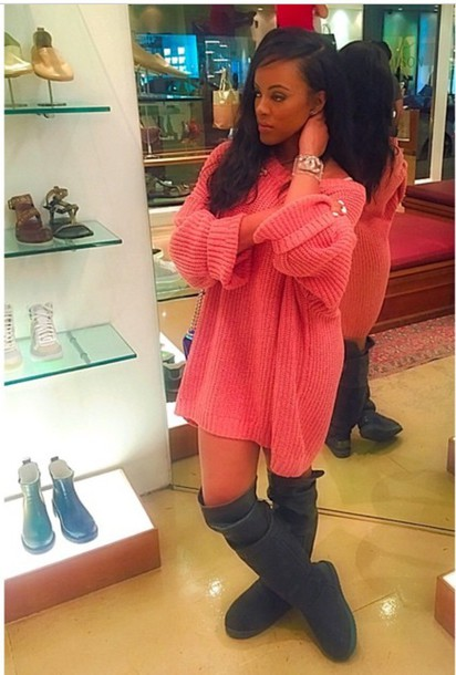 dress pink sweater dress