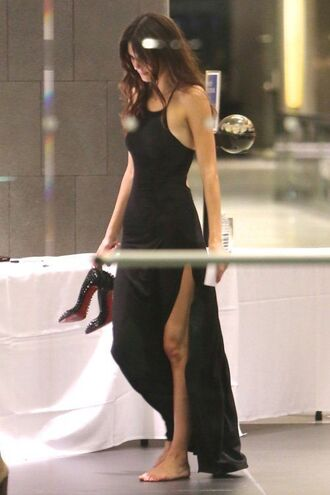 dress halter neck maxi dress slit black dress kendall jenner high neck halter