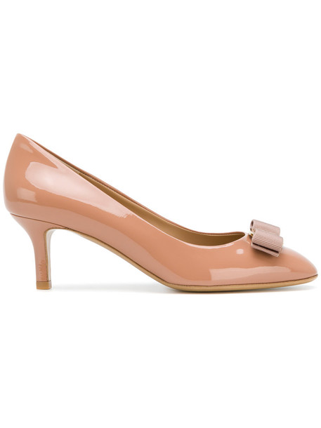 Salvatore Ferragamo women pumps leather purple pink shoes
