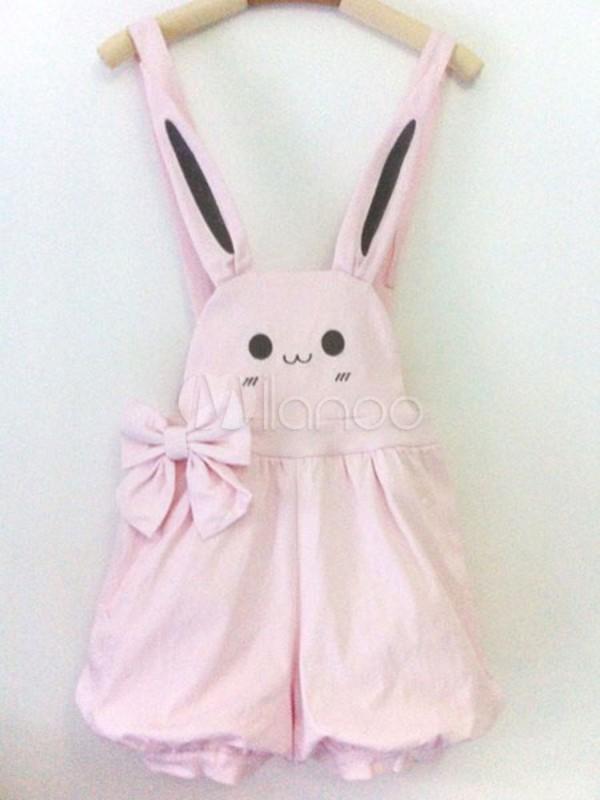 Romper Bunny Pink Cute Overalls Lolita Gothic Lolita