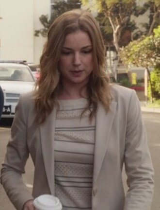 sweater cream striped blazer silk pointelle emily vancamp emily thorne amanda clark pullover