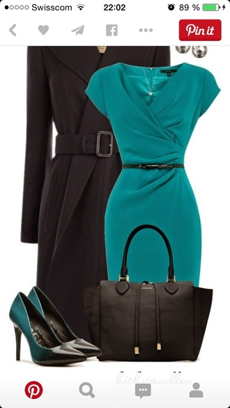 bag dress fashion blue turquoise chic shoes heels black heels
