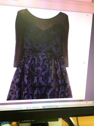 dress net purple dress flowy lace dress gorgeous long sleves pretty prom dress party short party dresses black belt belt bows