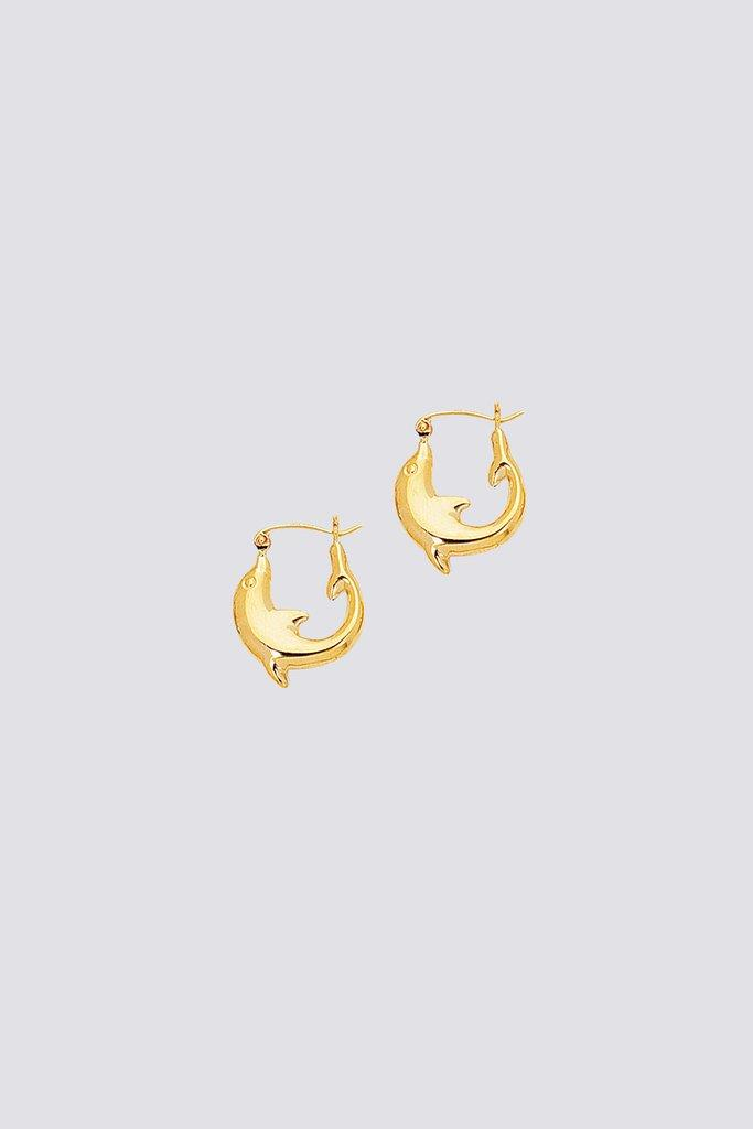 Gold Tiny Dolphin Hoops