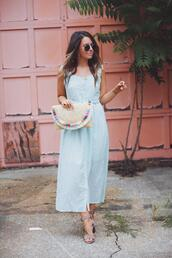 fashionably kay,blogger,dress,shoes,bag,sunglasses,straw bag,clutch,blue dress,summer outfits
