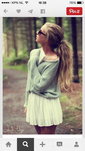 green green sweater t-shirt knitwear knitted sweater oversized sweater turquoise woods skirt white cream cream skirt white skirt sunglasses sweater