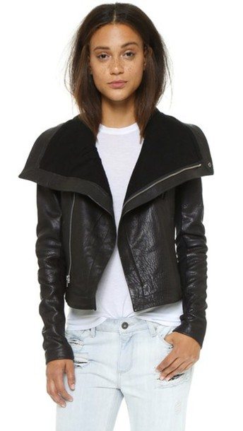 Veda Max Classic Leather Jacket - Black