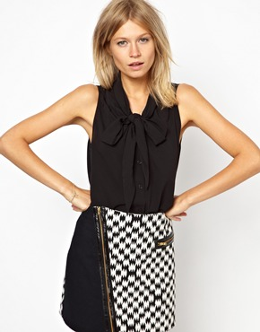 ASOS | ASOS Sleeveless Blouse with Drop Pussybow and Pintucks at ASOS