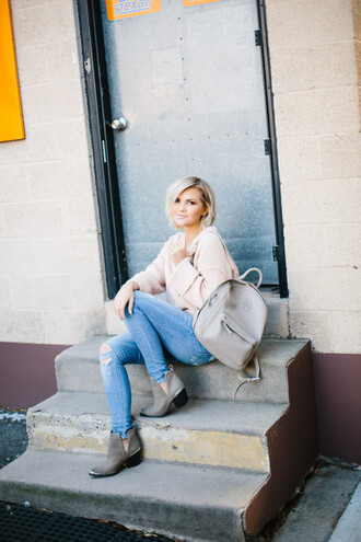 wild one forever - fashion & style by kristin blogger sweater jeans shoes jewels backpack ankle boots winter outfits
