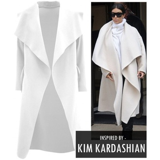 coat kim kardashian kardashians kim kardashian dress white coat