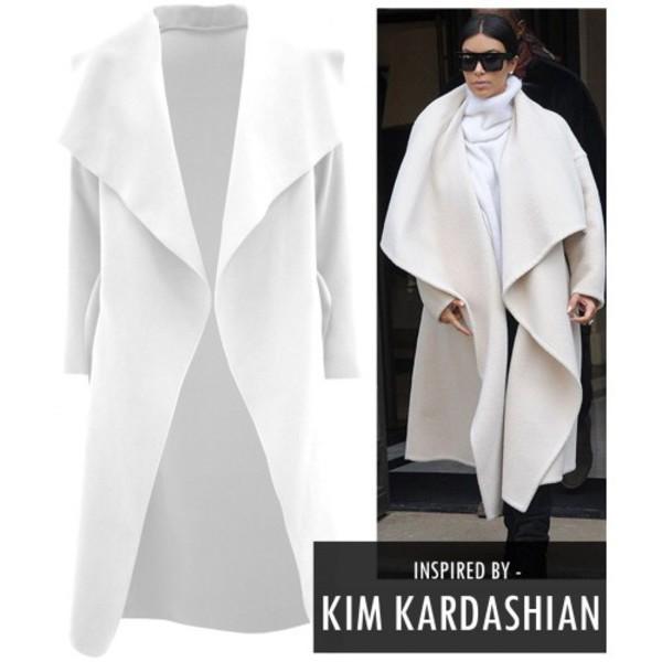 coat kim kardashian kardashians kim kardashian dress white coat