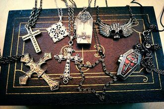 jewels necklace goth gothic lolita cross coffin stars