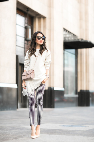 wendy's lookbook blogger striped pants white sweater valentino bag black and white