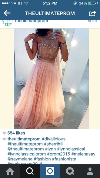 dress pink dress crop tops prom dress pink prom dress two-piece