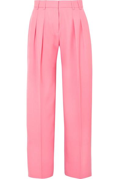 Victoria, Victoria Beckham - Pleated wool-twill wide-leg pants