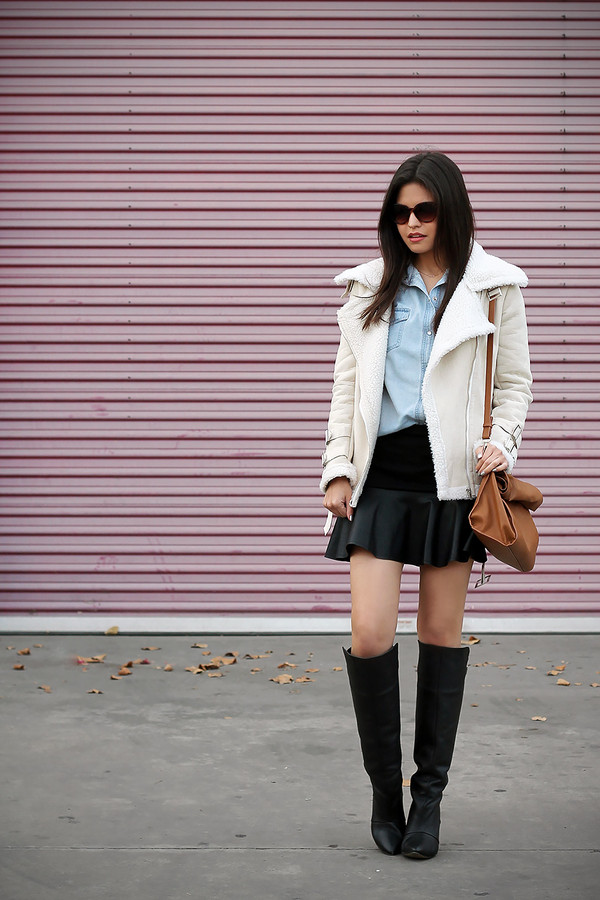 fake leather coat shirt skirt shoes