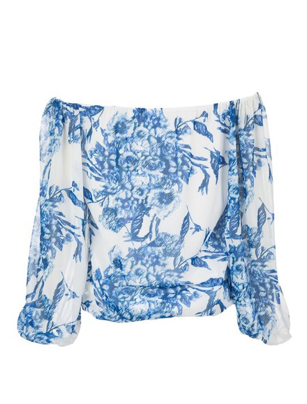 blouse floral top long sleeve long sleeve printed chiffon blouson top