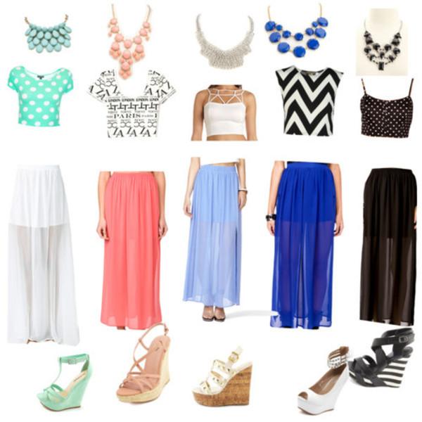 skirt heels maxi skirt crop tops wedges