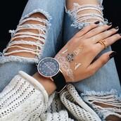 jewels,tumblr,watch,black watch,henna,ring,nail polish,nails,dark nail polish,jeans,denim,blue jeans,ripped jeans,dress