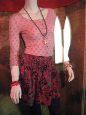 top,pink elbow length sleeves,shirt,pink with patterns,skirt,red rose pattern,pink 3 quarter length sleeves