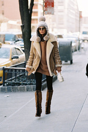 vanessa jackman,blogger,shearling jacket,brown shearling jacket,brown sweater,brown jacket,beanie,pom pom beanie,winter outfits,winter coat,furry boots,high heels boots,cat eye,black sunglasses,oversized sweater,camel shearling coat,cold weather outfit
