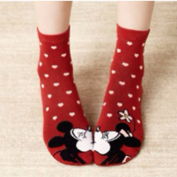 underwear mickey mouse disney socks heart minnie mouse shoes red disney kiss heart valentines day gift idea