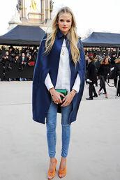 shoes,coat,gabriella wilde,overcoat,navy coat,jacket,blue coat