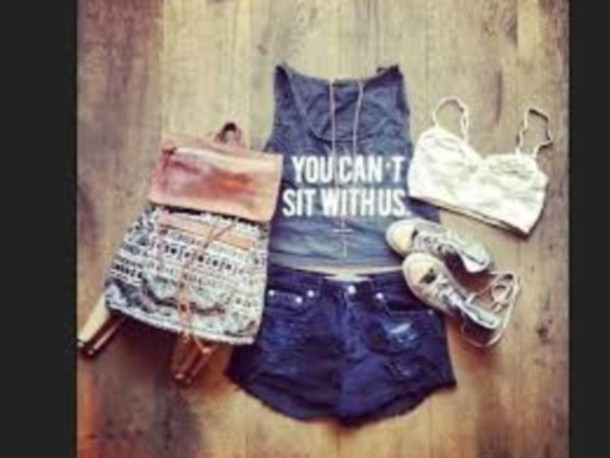 shirt t-shirt tank top pintrest you can't sit with us bag top