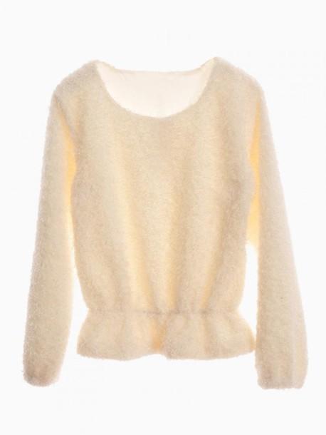sweater white mohair jumper peplum hem cute warm Choies