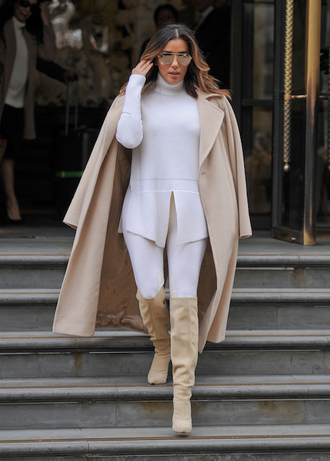thebudgetbabe blogger coat sweater jeans shoes nude coat fall outfits knee high boots boots eva longoria celebrity