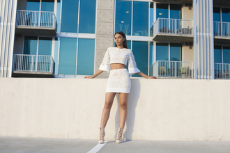 top crop tops white skirt set white skirt summer outfits white crop tops all white everything all white party 2 piece skirt set nude pumps shoes
