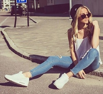 jeans rippedjeans.  lightcolor white top air max blouse shoes