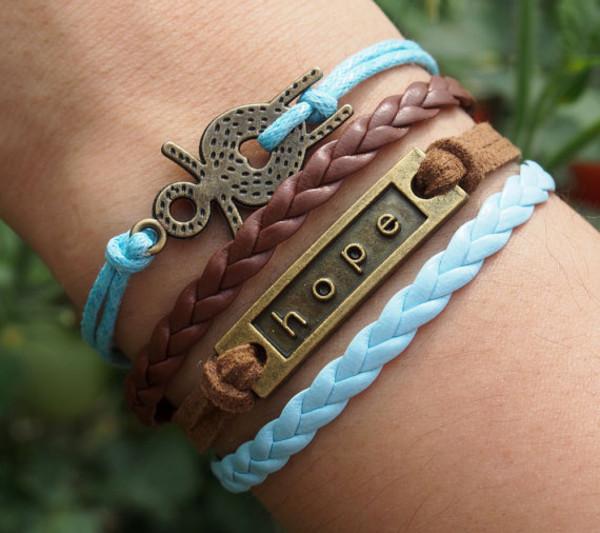 Jewels: scarecrow, hope, bracelets, leather bracelet ...