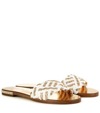 metallic weave sandals white shoes