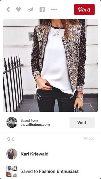 jacket black embroidered embellished sequins pattern t-shirt