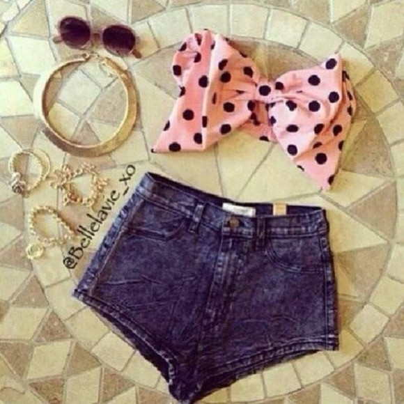girly kawaii polka dots cute sexy bows jeans top pink sunglasses denim shorts fashion summer outfits beach teen fashion shorts clothes pretty outfit necklace gold feminine girl bandeau jewels