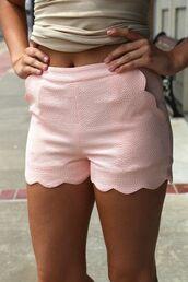shoes,blush,scalloped shorts,pastel,shorts,summer