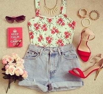 shirt cute floral tank top floral inlove white prink shorts blue shorts blue outfit