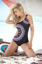 swimwear,mapalé,one piece swimsuit,black print,open side,tribal pattern,bikiniluxe