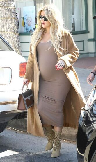 dress bodycon dress maternity dress khloe kardashian kardashians coat boots streetstyle